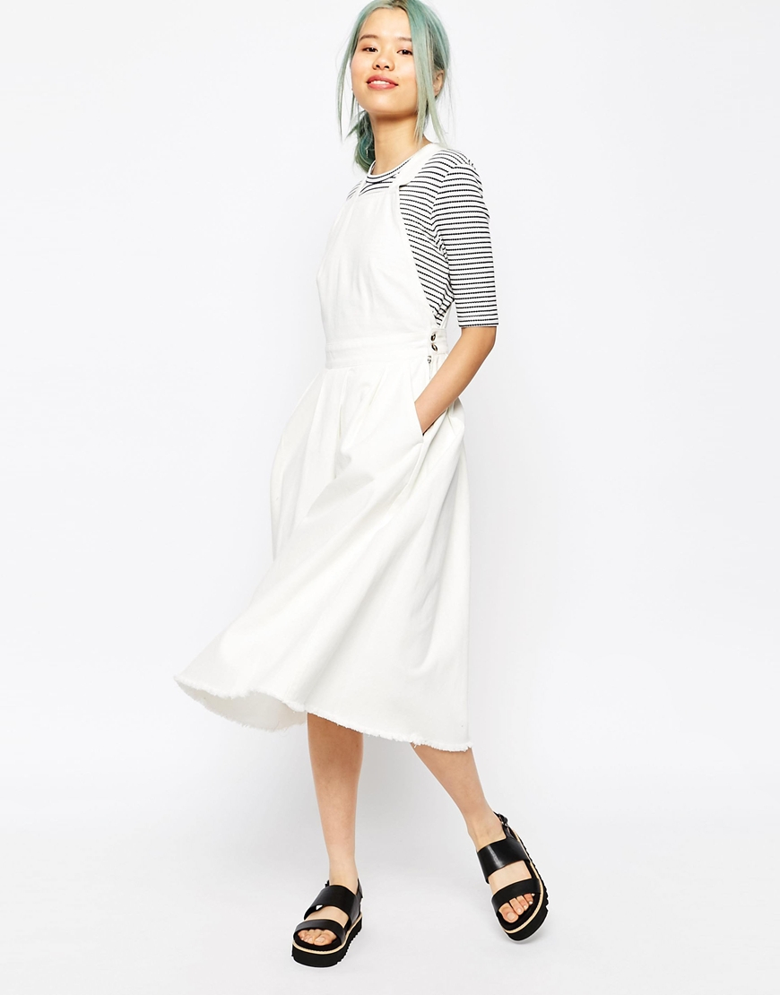 bc872ce9bd Lyst - ASOS Denim Cross Back Midi Dress In Off White With Raw Hem in ...
