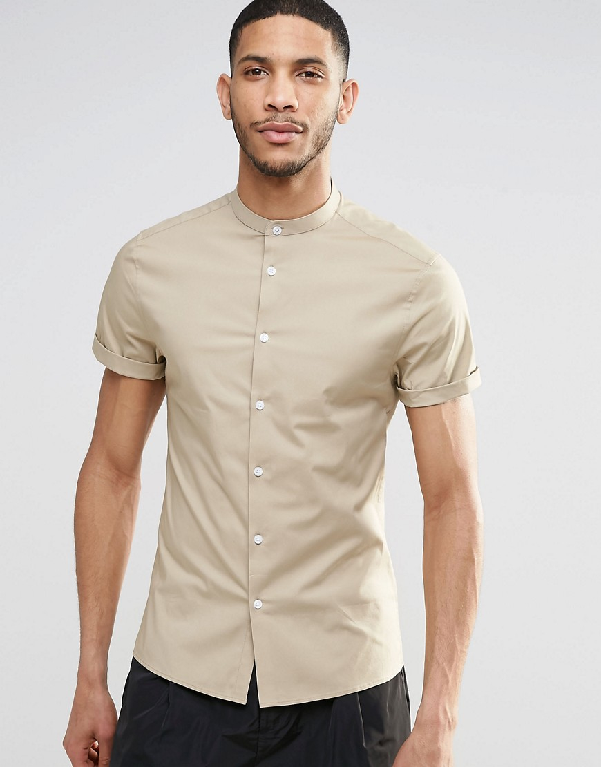 Asos skinny shirt with grandad collar and short sleeves in for Short sleeve grandad shirt