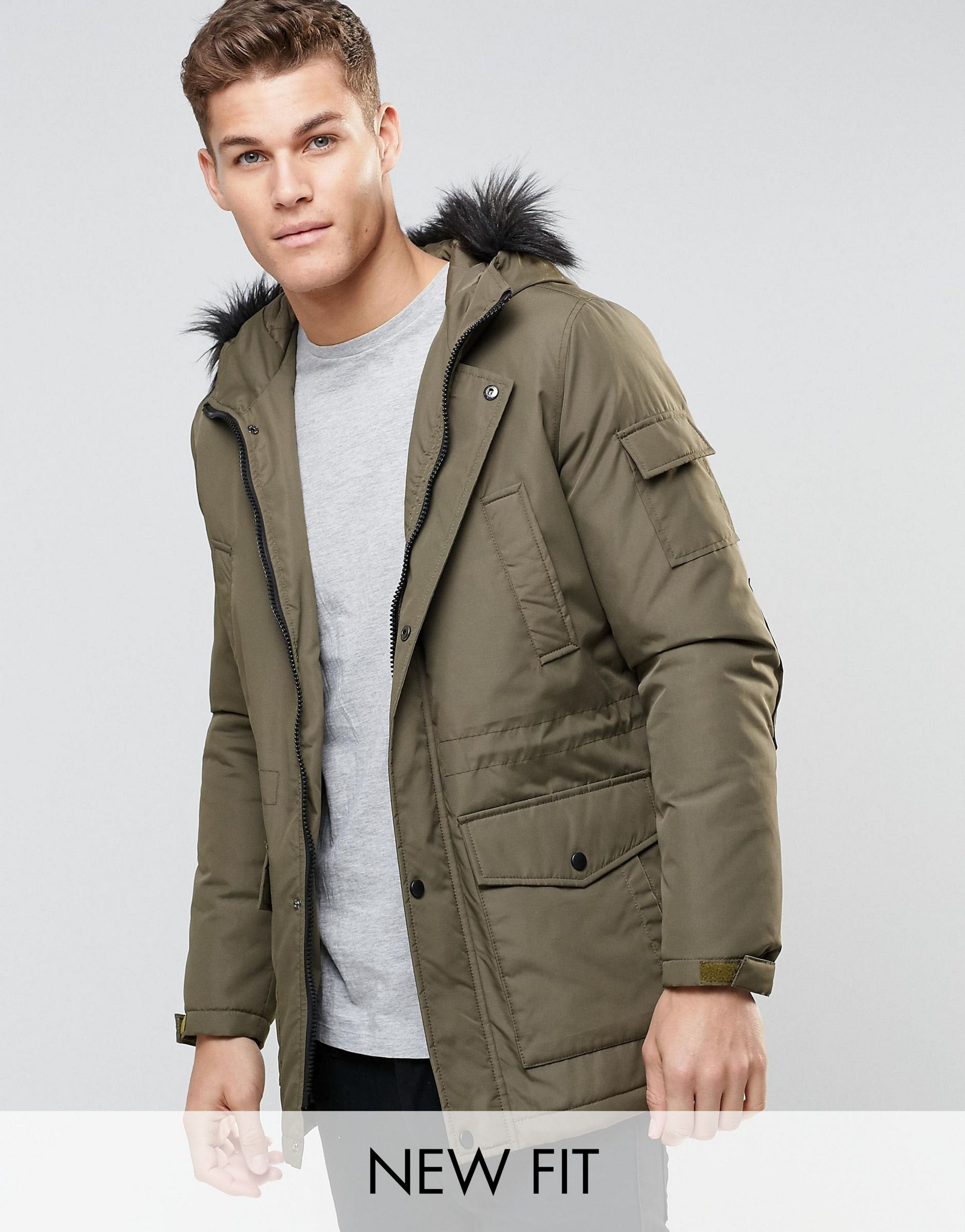 Asos Parka Jacket With Faux Fur Trim In Khaki in Green for Men | Lyst