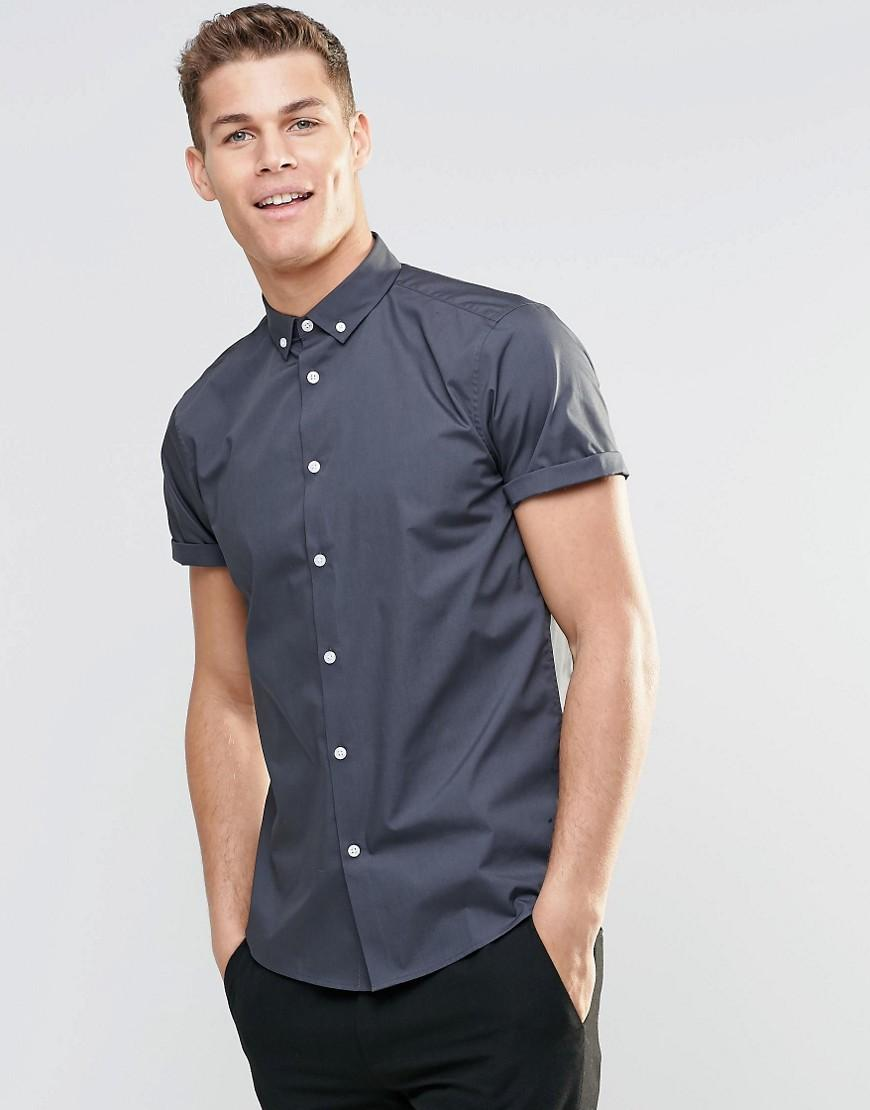 Asos smart shirt in grey with button down collar and short for Mens grey button down dress shirt
