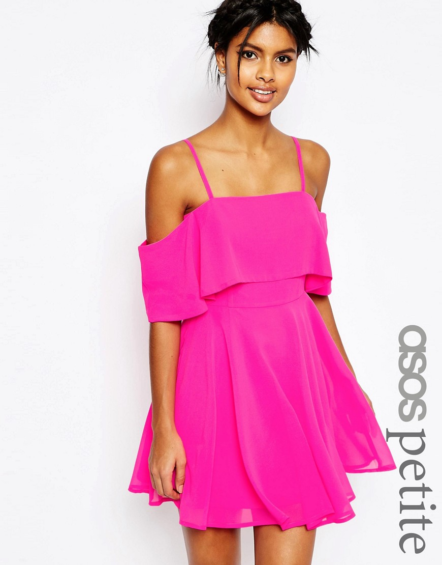 Asos Textured Cold Shoulder Ruffle Midi Dress In Pink Lyst - Gallery