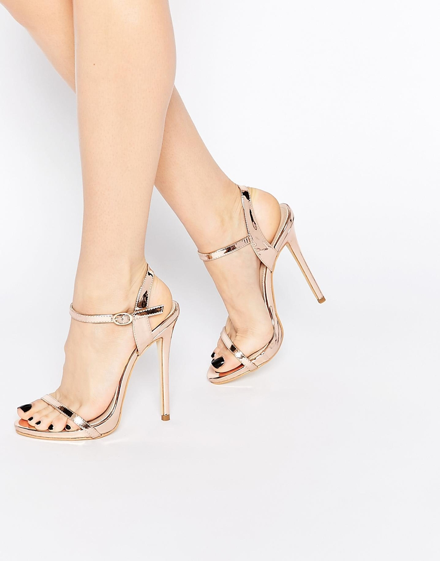 Public Desire Sparra Gold Barely There Heeled Sandals In