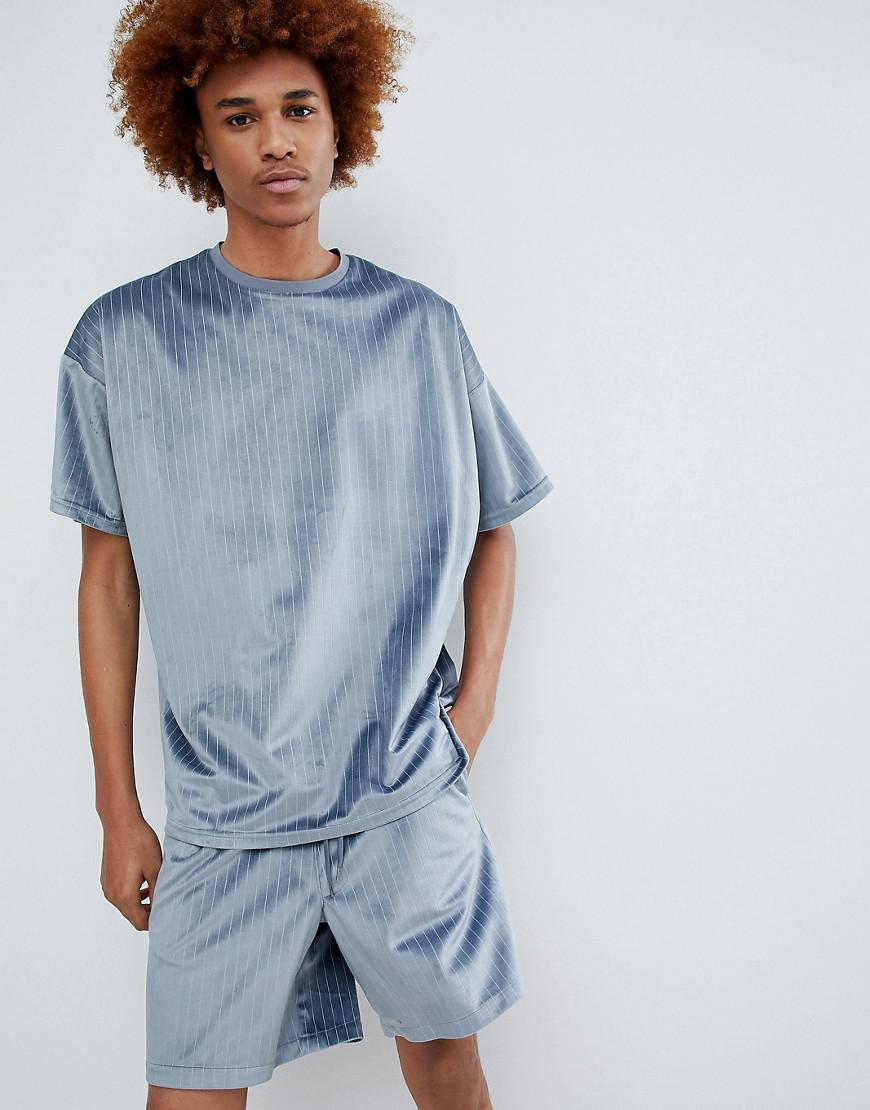 Asos Oversized Velour Co Ord T Shirt In Blue Pinstripe In Gray For