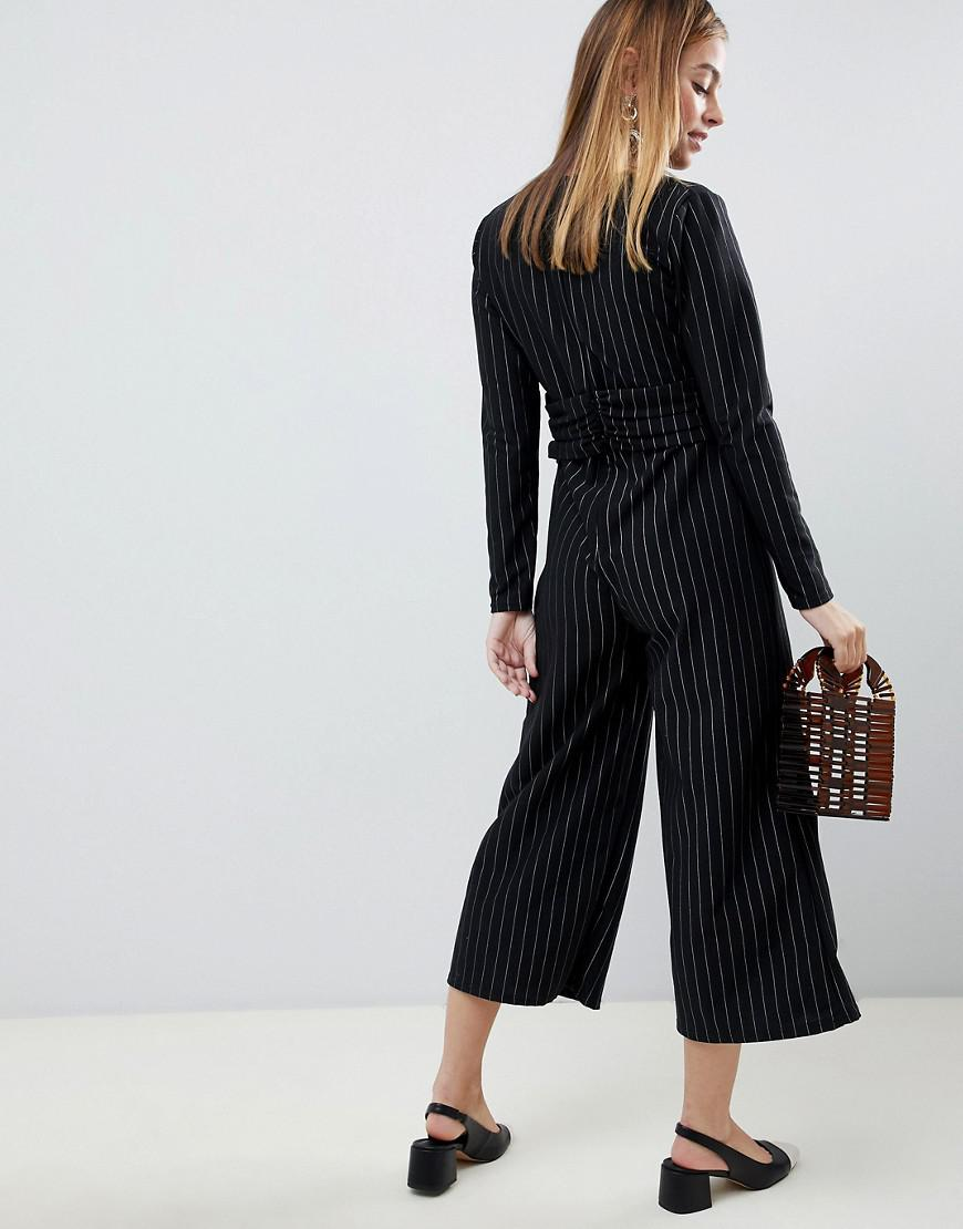 4506ec269a Lost Ink Jumpsuit With Twist Front In Pinstripe in Black - Lyst