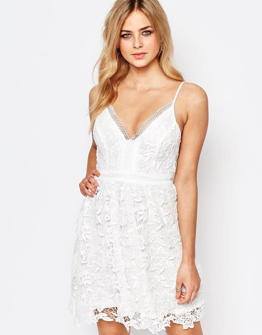 23315a551d Lipsy Michelle Keegan Loves Allover Crochet Lace Prom Skater Dress ...