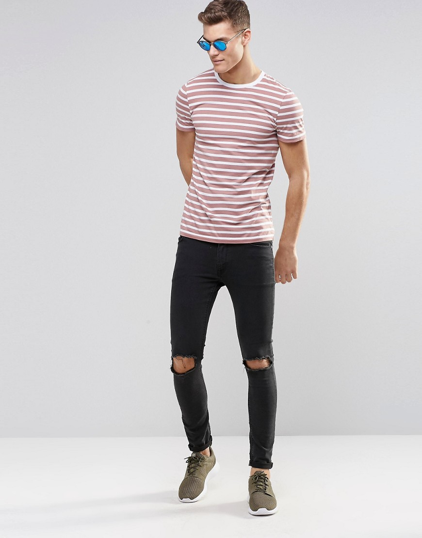 Lyst asos stripe t shirt in pastel pink in pink for men for Pastel colored men s t shirts