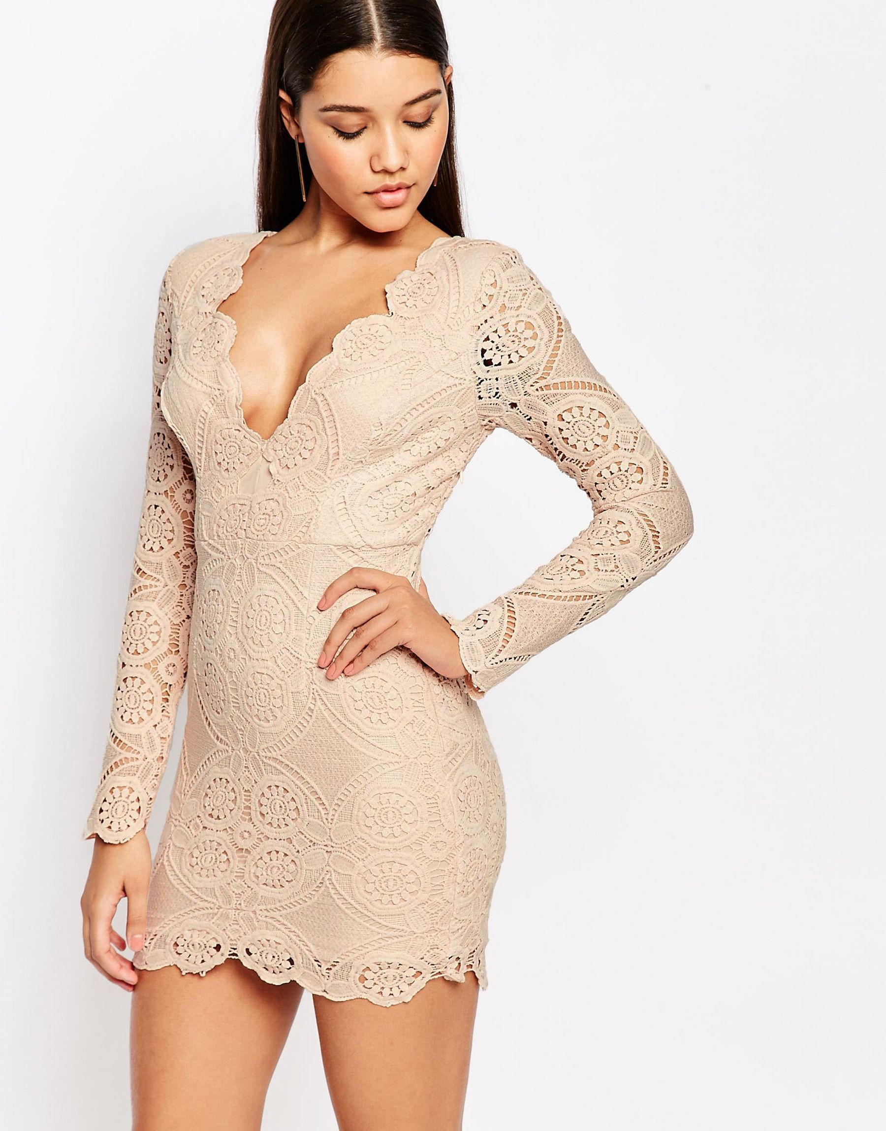 Lyst Love Triangle V Neck Mini Dress In All Over Lace In Natural