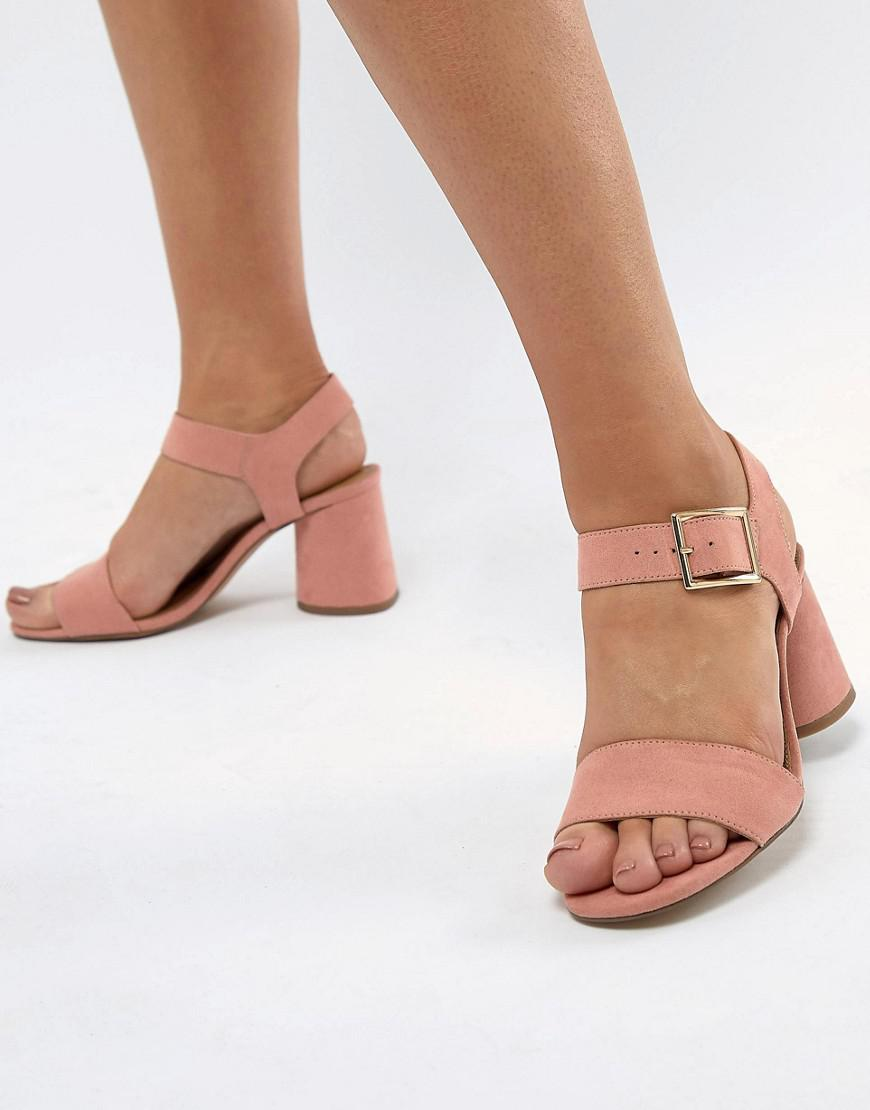 eb2d5ef9c21 Lyst - ASOS Humming Bird Wide Fit Mid Block Heeled Sandals in Pink