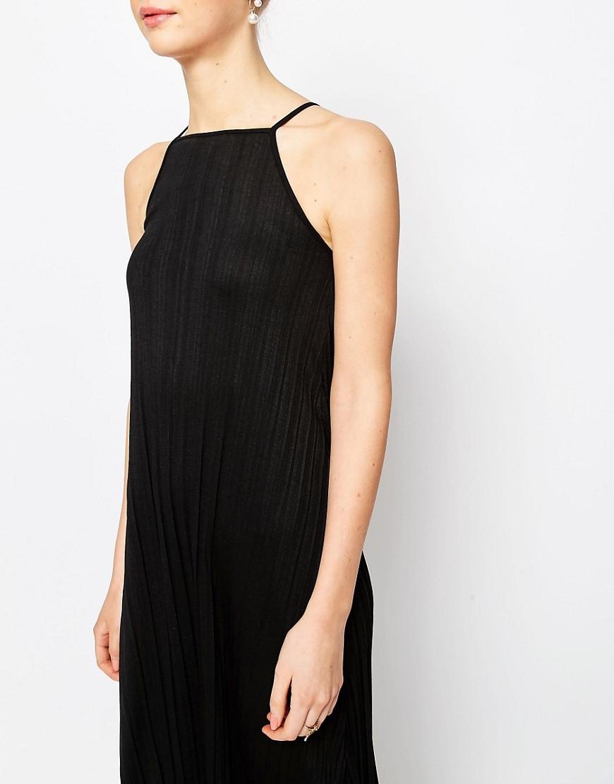 Asos Pleated Swing Maxi Dress in Black