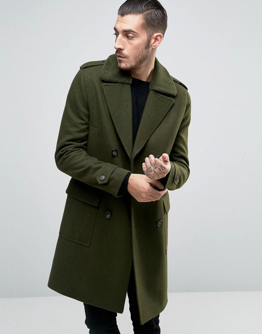 Lyst asos wool mix overcoat wih borg collar in green for men for Mens red wool shirt