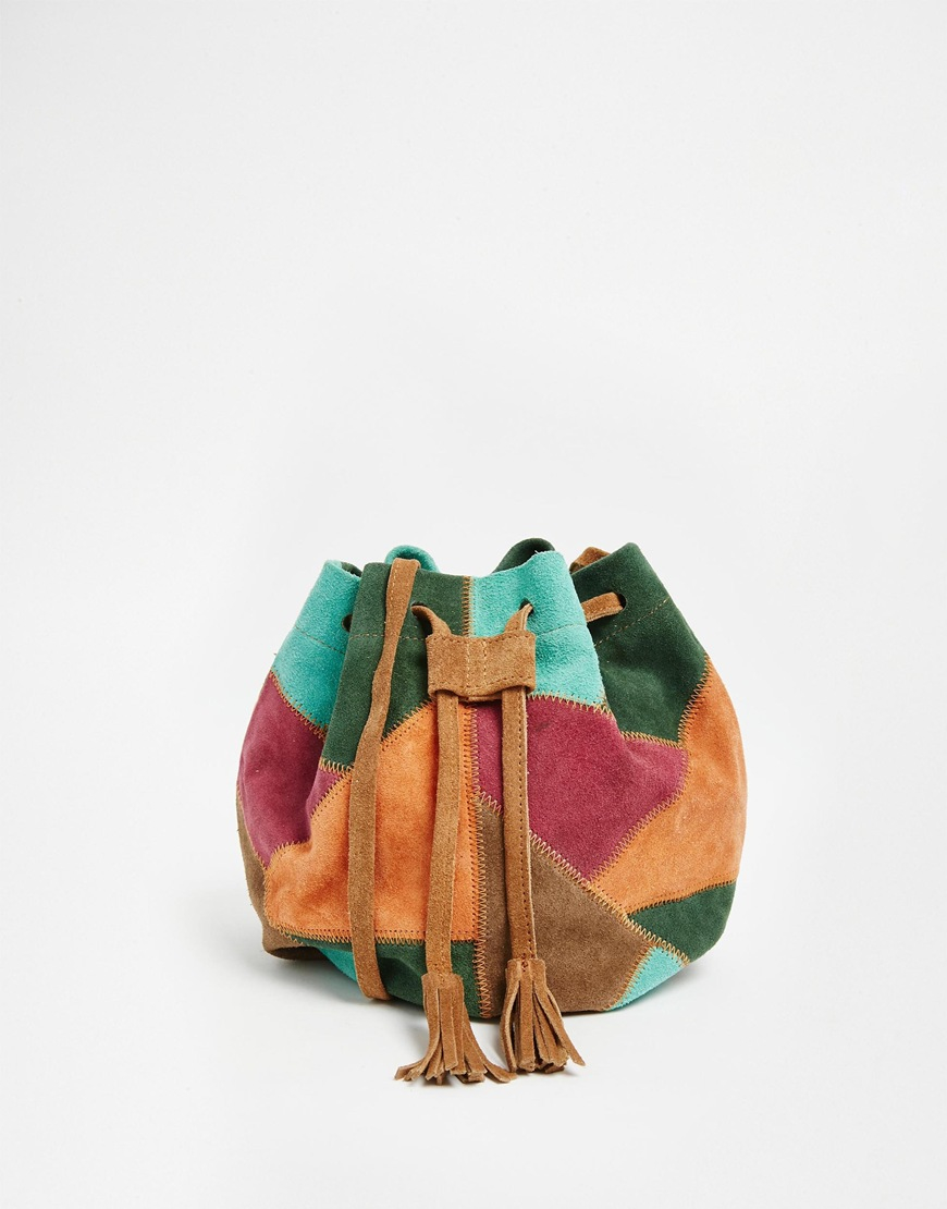 Lyst - Park Lane Patchwork Suede Bucket Bag in Orange f037a04e6e01c