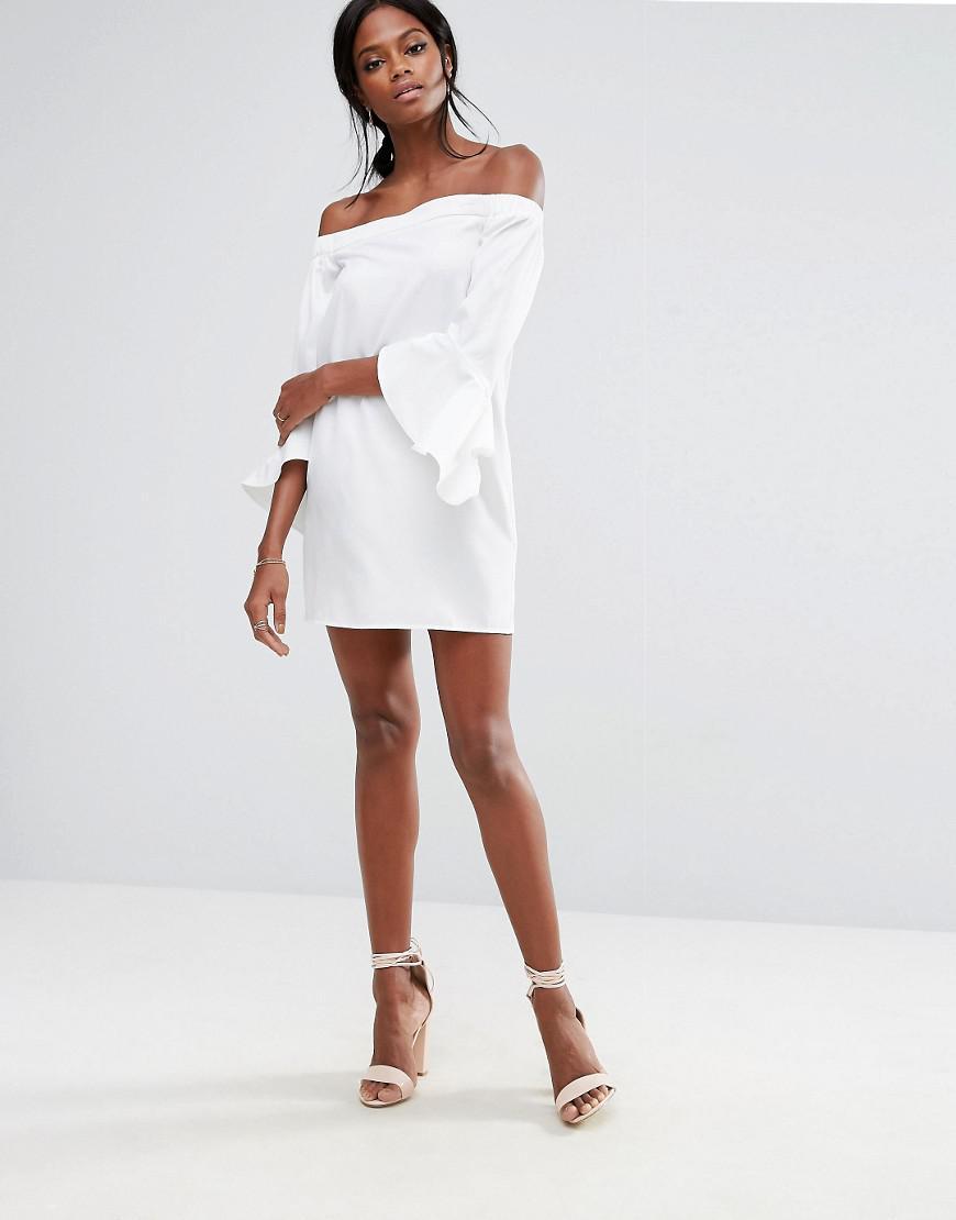 998275211abf Lyst - Missguided Ruffle Sleeve Bardot Mini Shift Dress in White