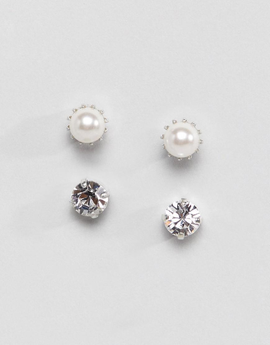 Krystal London Women S Metallic Two Pack Swarovski Crystal Stud Earrings