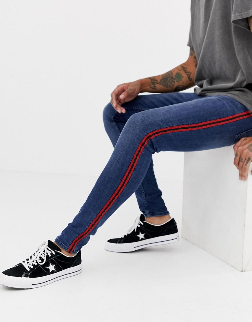75d302ca3894 New Look Skinny Jeans With Red Side Stripe In Blue Wash in Blue for ...