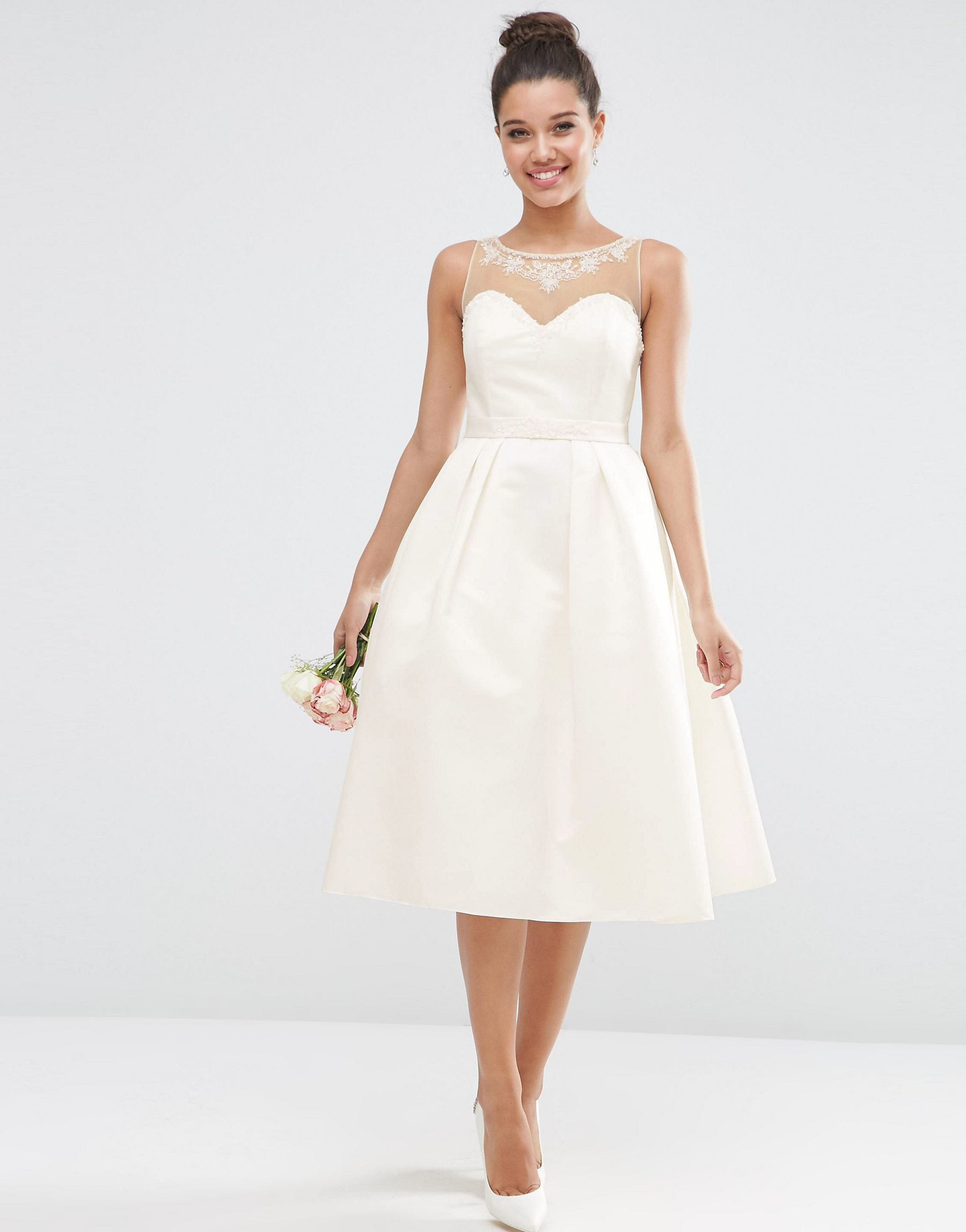 Asos Bridal Crystal Sweetheart Midi Prom Dress In White Lyst