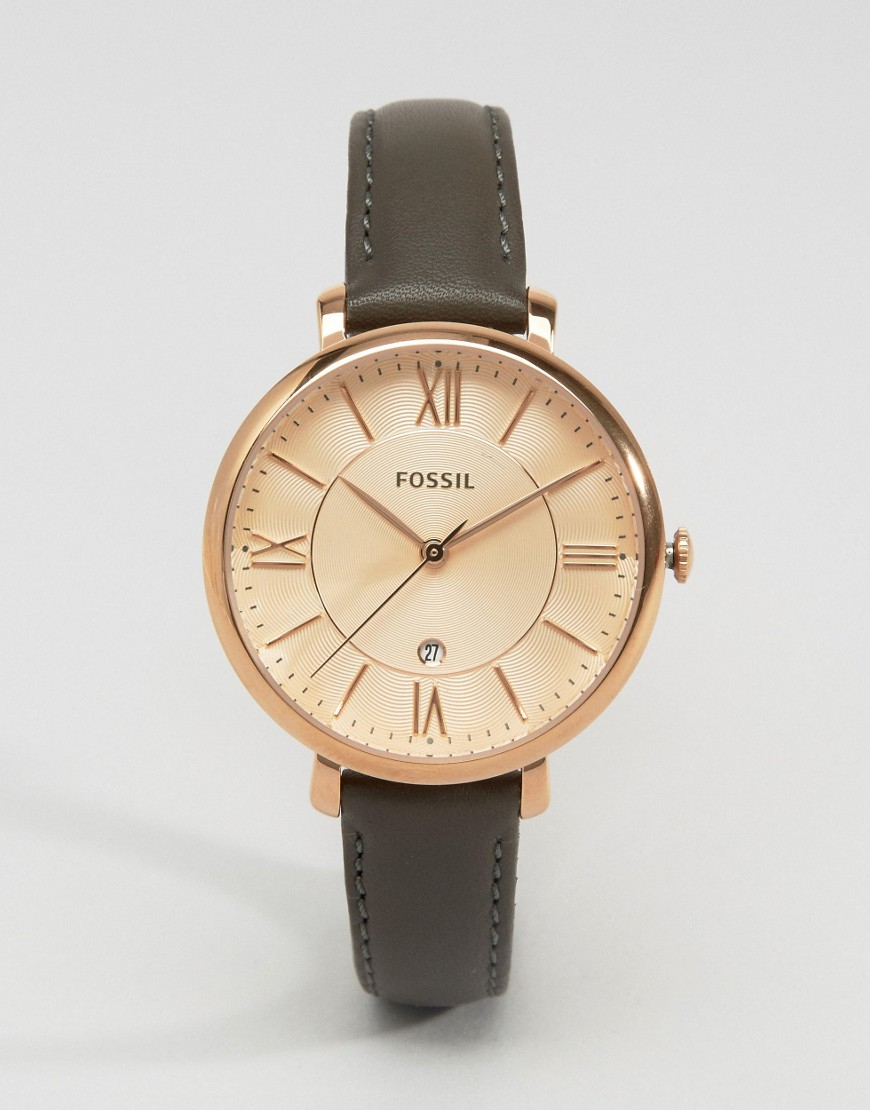 89af30f08 Fossil Grey Leather Jacqueline Watch Es3707 in Gray - Lyst