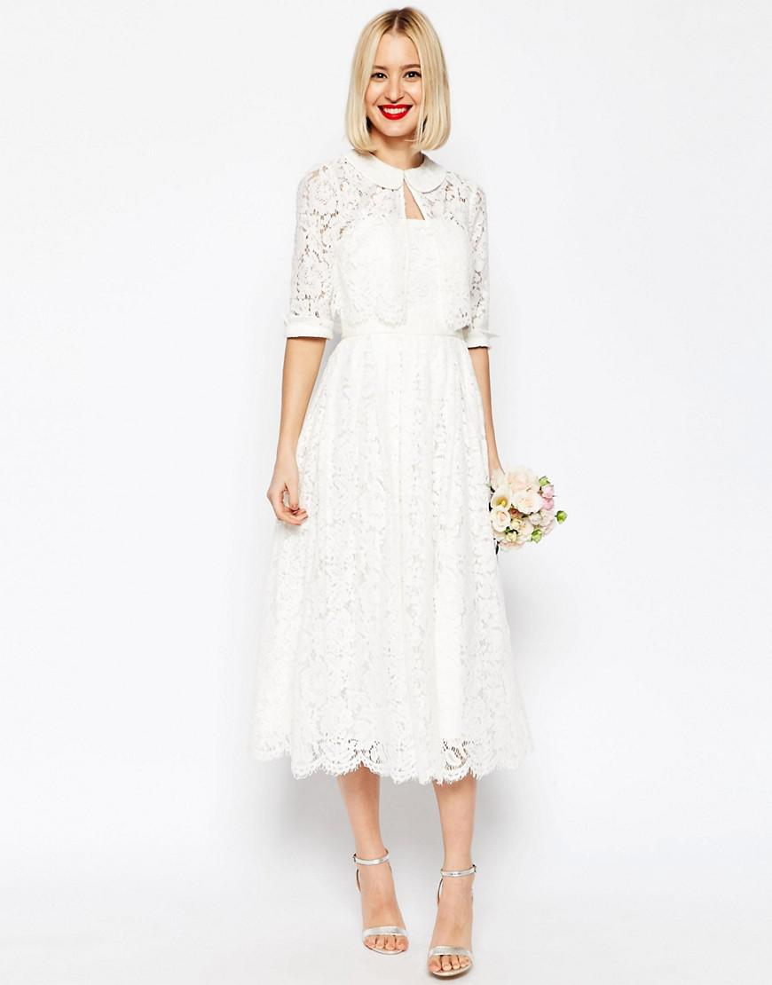 fc0ac782d5f ASOS Asos Bridal Lace Bandeau Midi Prom Dress With Crop Jacket in ...