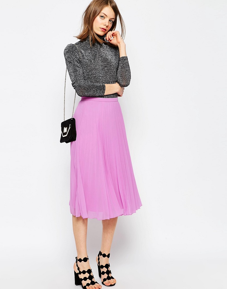asos pleated midi skirt lilac in pink lyst