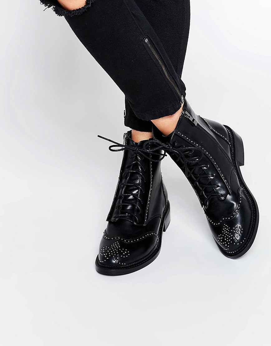 2d064d936726 Lost Ink August Pin Stud Brogue Lace Up Flat Ankle Boots in Black - Lyst