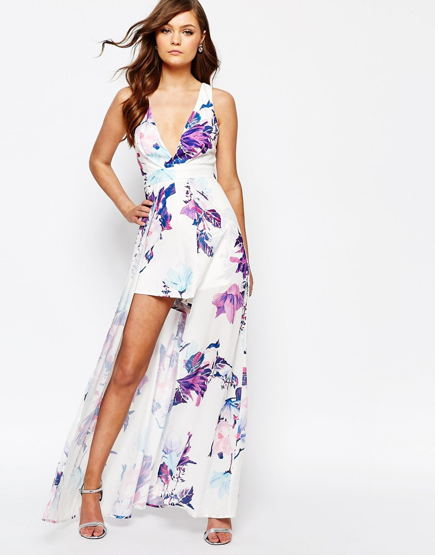 Lyst - Ginger Fizz Printed Playsuit With Maxi Overlay