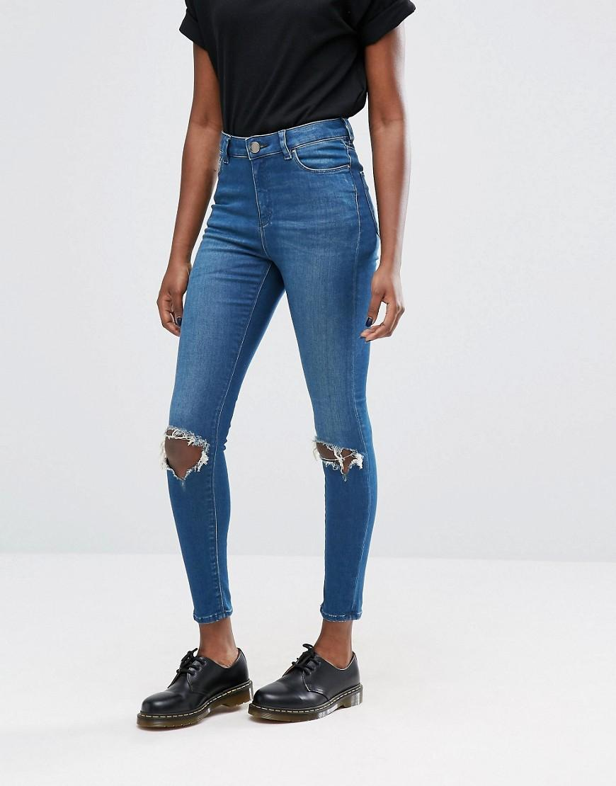asos ridley high waist skinny jeans in mahogany dark stonewash with busted knee rips in blue lyst. Black Bedroom Furniture Sets. Home Design Ideas