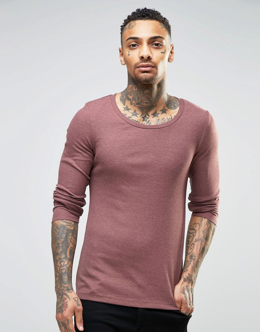 Asos rib extreme muscle long sleeve t shirt with scoop for Scoop neck long sleeve shirt