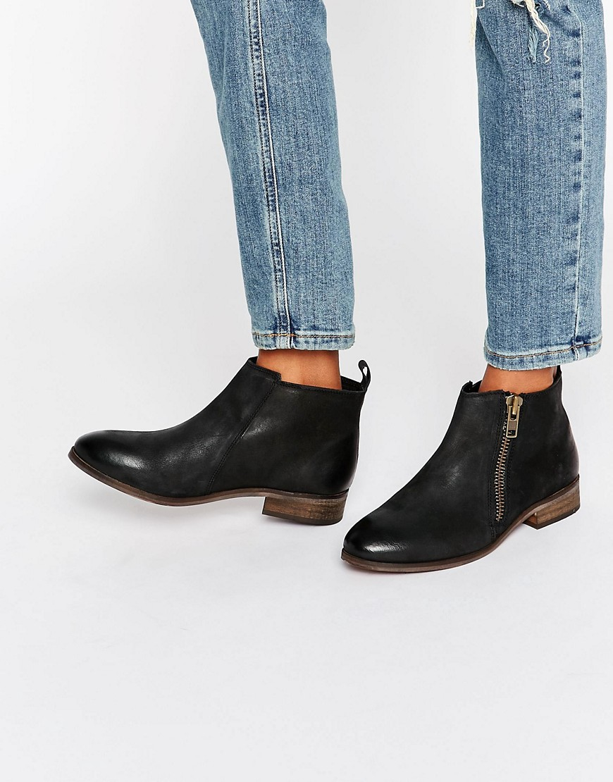 miss kg spitfire zip black leather ankle boots in black lyst