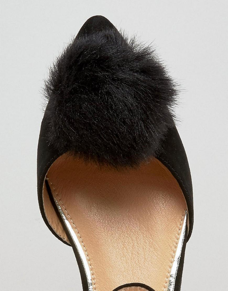 Lyst Miss Kg Goldie Pom Pom Ankle Strap Point Flat Shoes