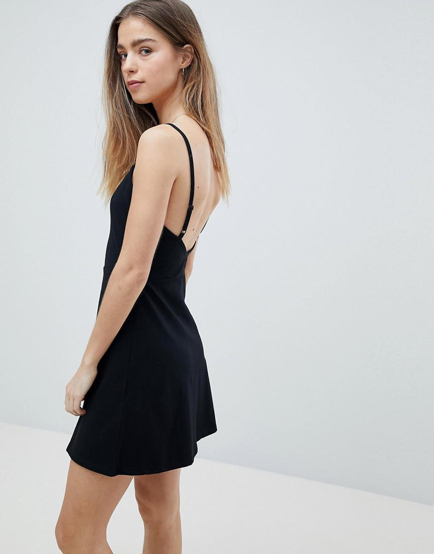 4785a7c9146 ASOS Asos Design Petite Mini Square Neck Skater Dress in Black - Lyst