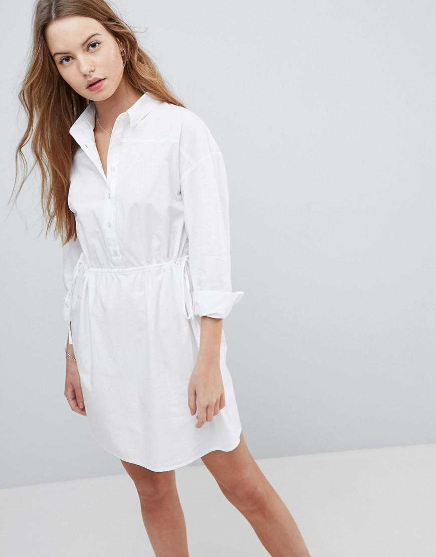 762aa8b7a598 Lyst - ASOS Asos Ruched Cotton Mini Shirt Dress in White