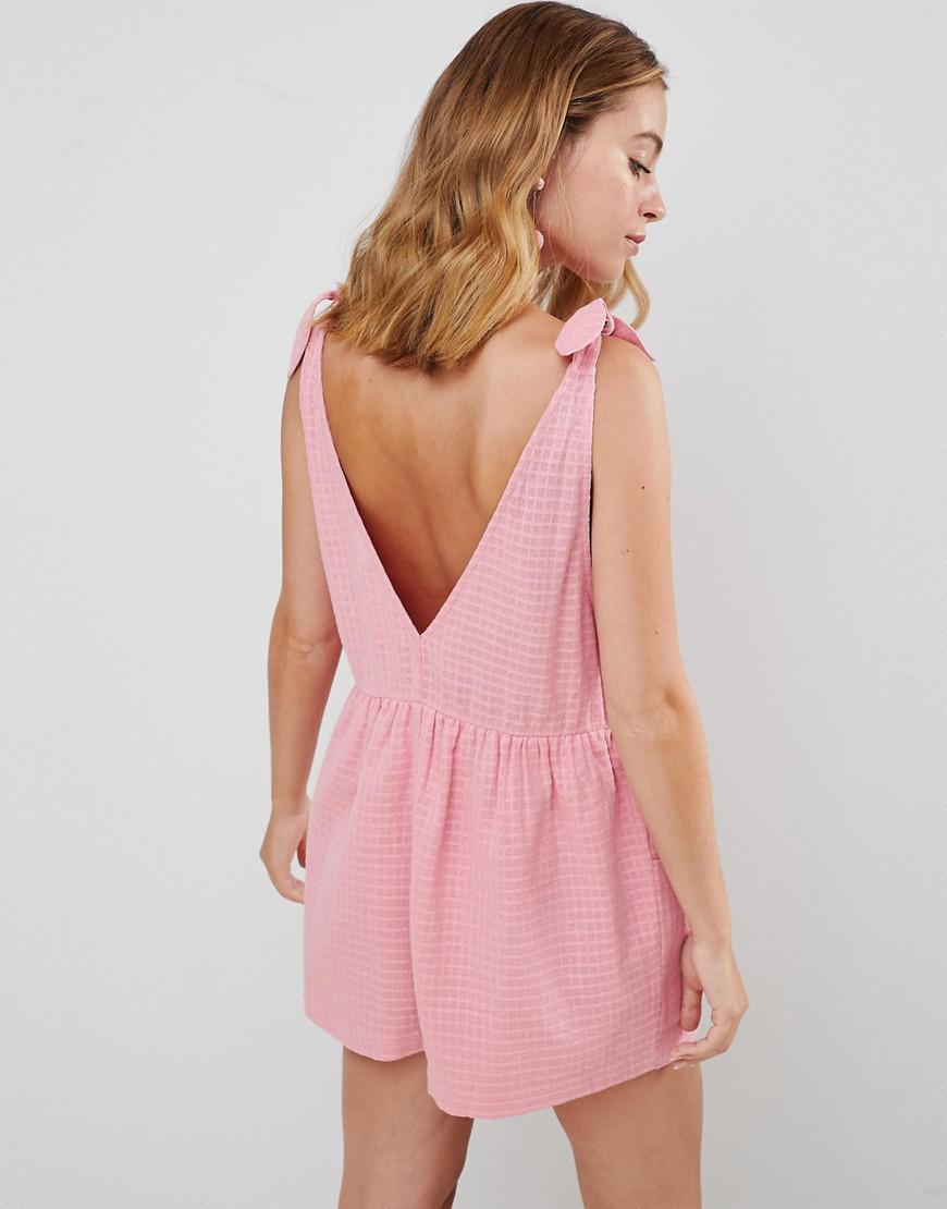 95d447eeee2 ASOS Asos Design Petite Smock Romper With Tie Shoulder in Pink - Lyst