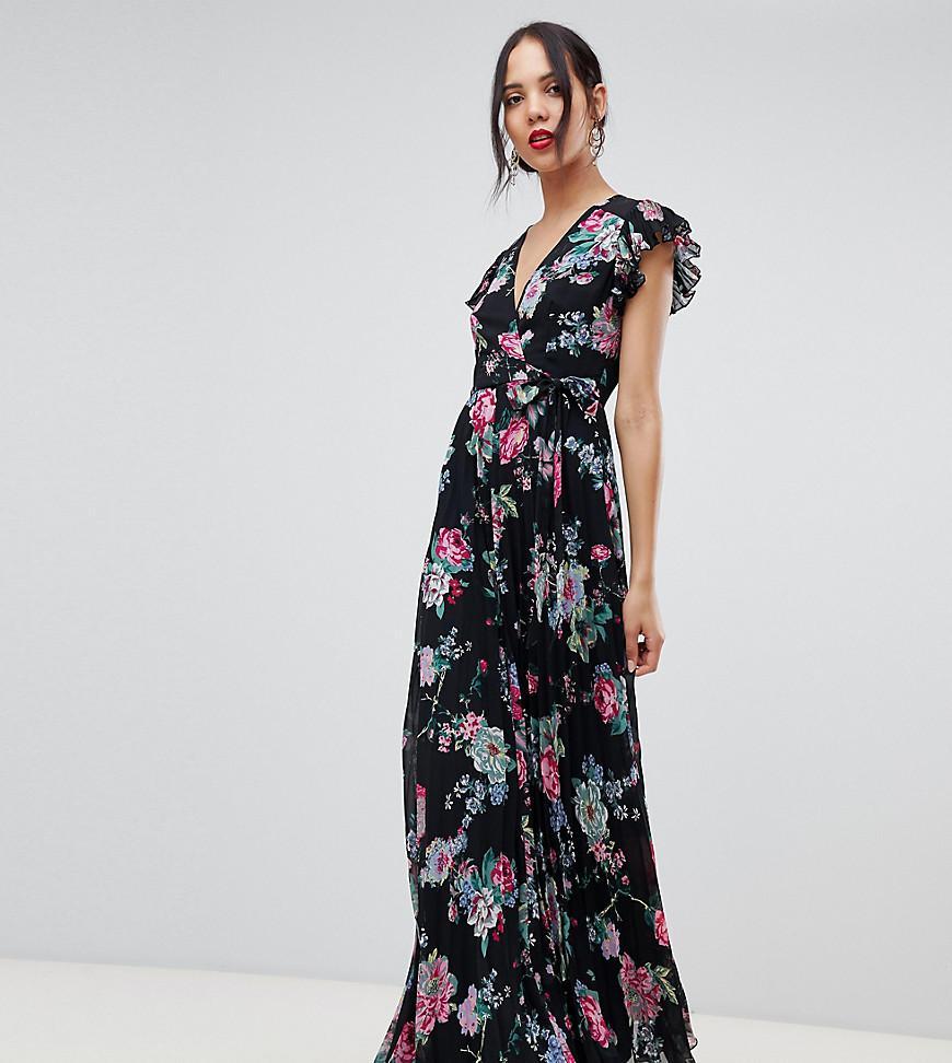 126d6799167 Lyst - ASOS Asos Design Tall Pleated Wrap Maxi Dress Flutter Sleeve ...