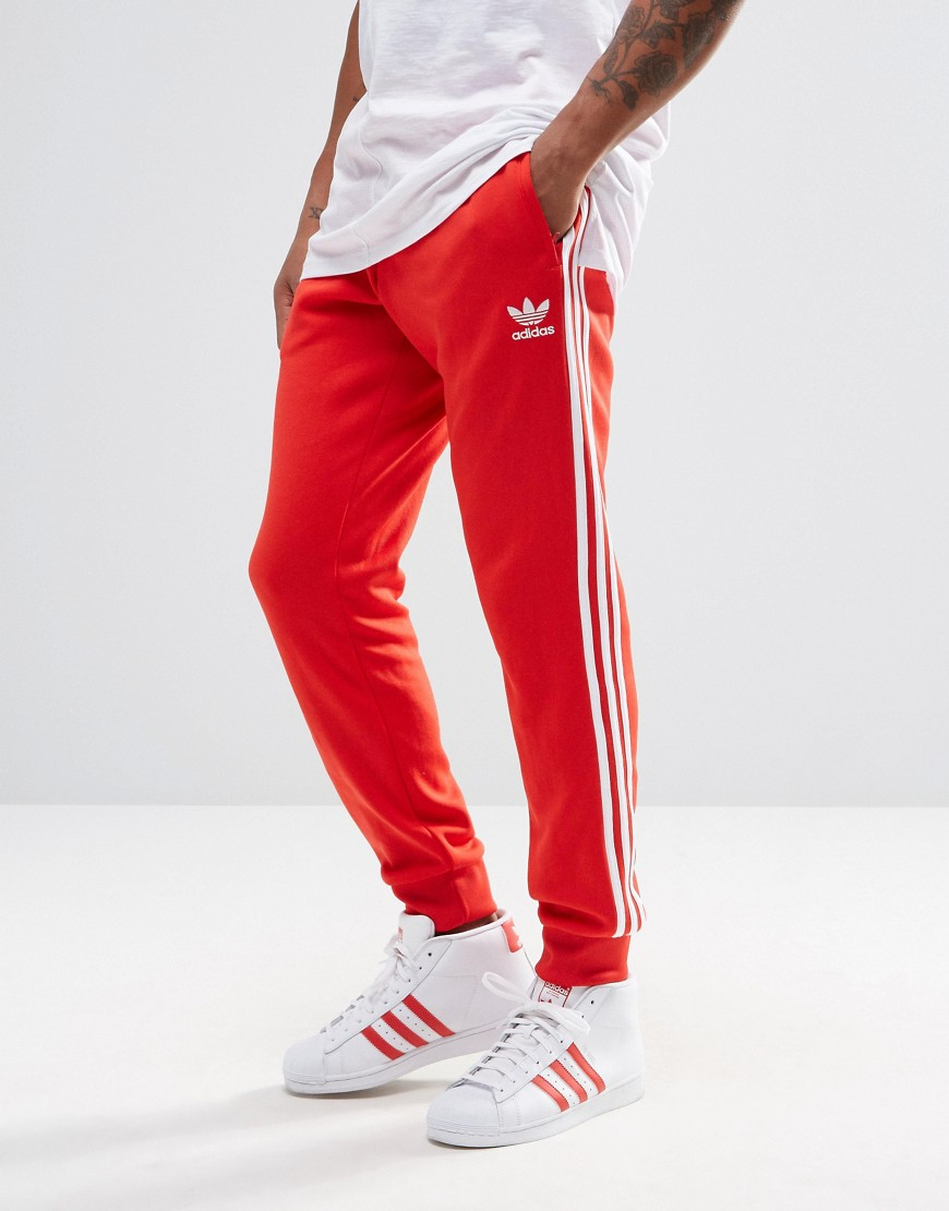 Adidas originals Trefoil Cuffed Joggers Ay7703 in Red for Men | Lyst