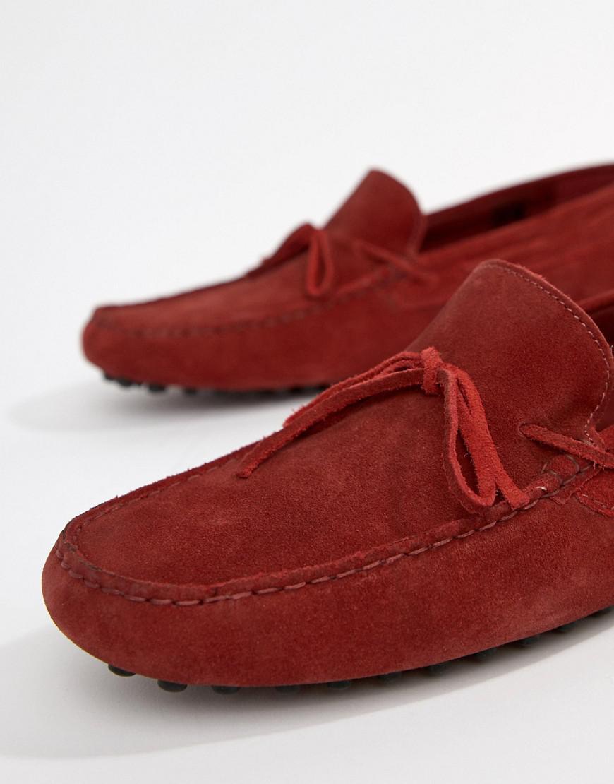 Asos Conception Coupe Large Chaussures De Conduite En Daim Rouge Avant Cravate - Rouge 5so1Hs