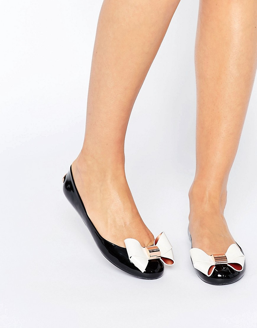 42c0bcc2bb Lyst - Ted Baker Black/cream Faiyte Bow Jelly Shoes in Black