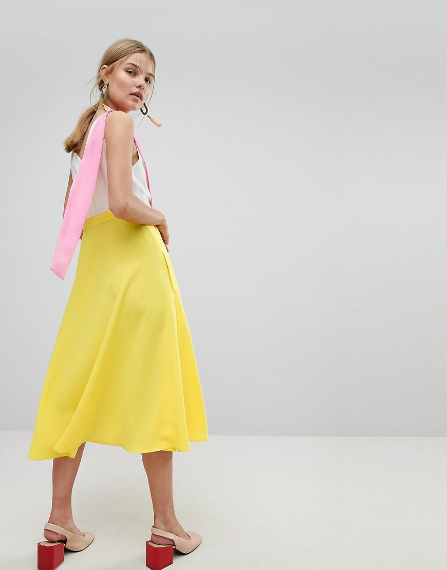 06087260f MAX Co. Max co Colourblock Midi Dress in Yellow - Lyst