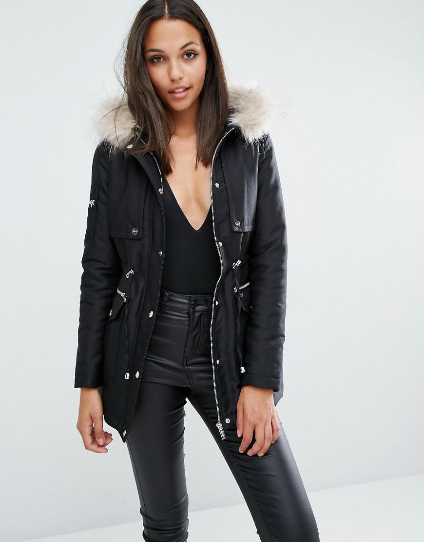 lipsy faux fur hood parka jacket in black lyst