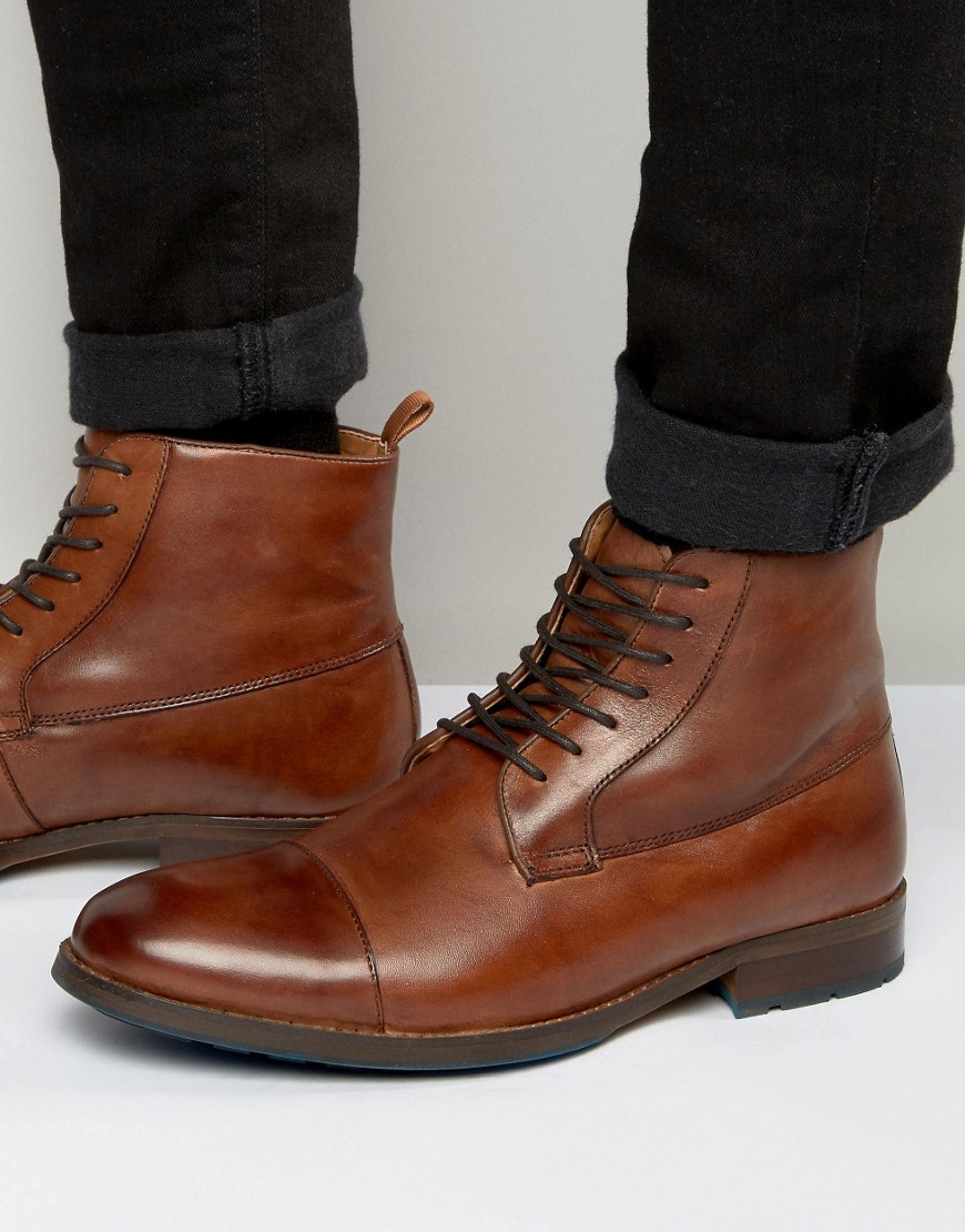 aldo asodda lace up boots in leather brown in brown