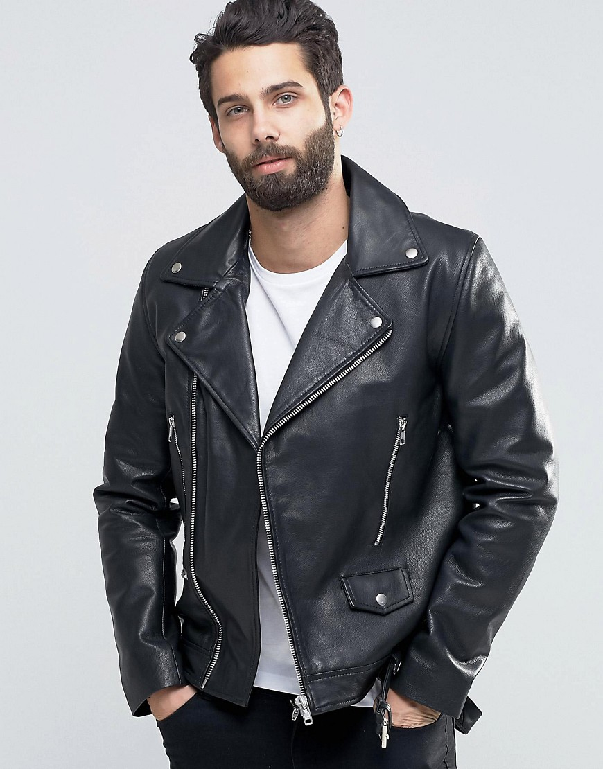 Asos Leather Biker Jacket With Belt In Black In Black For Men | Lyst