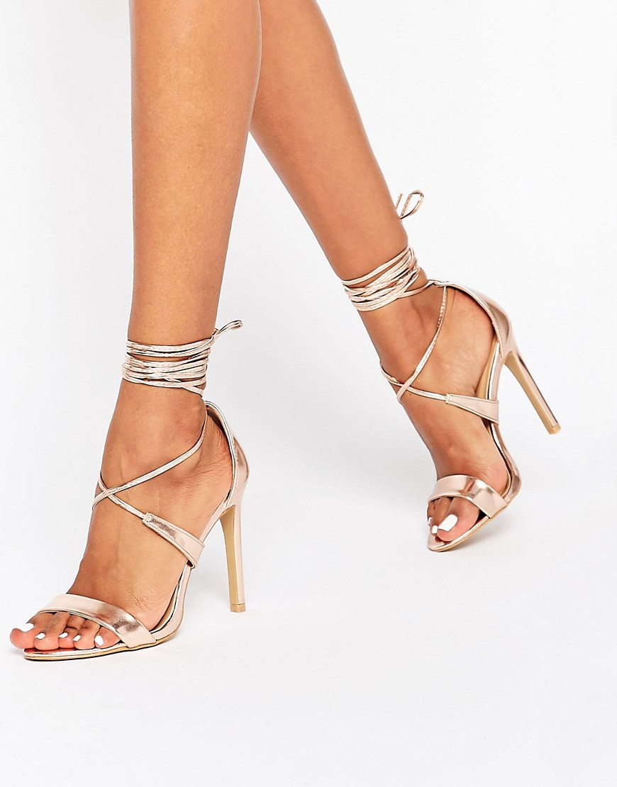 True Decadence Rose Gold Metallic Ankle Tie Heeled Sandals