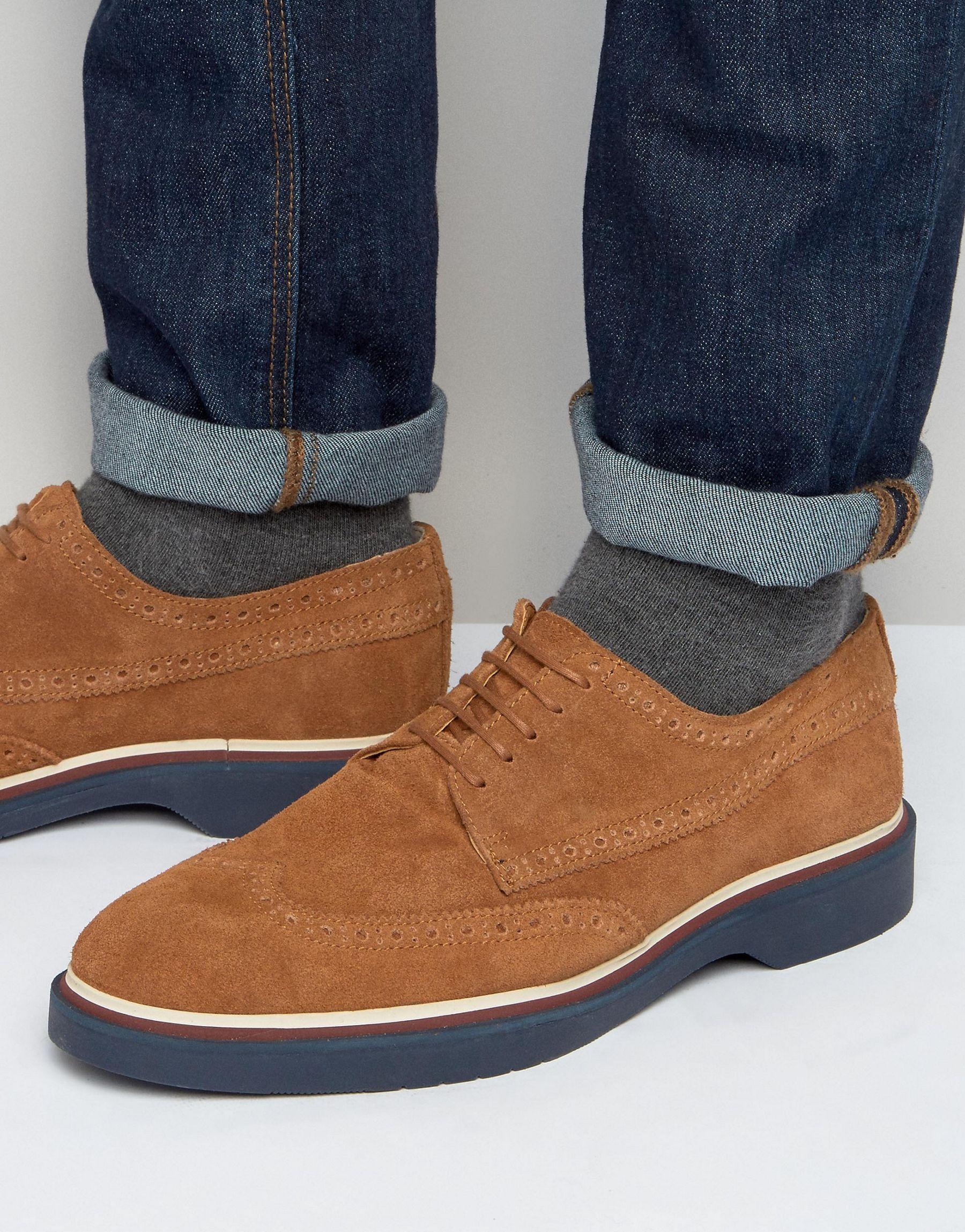 asos brogue shoes in suede with wedge sole in