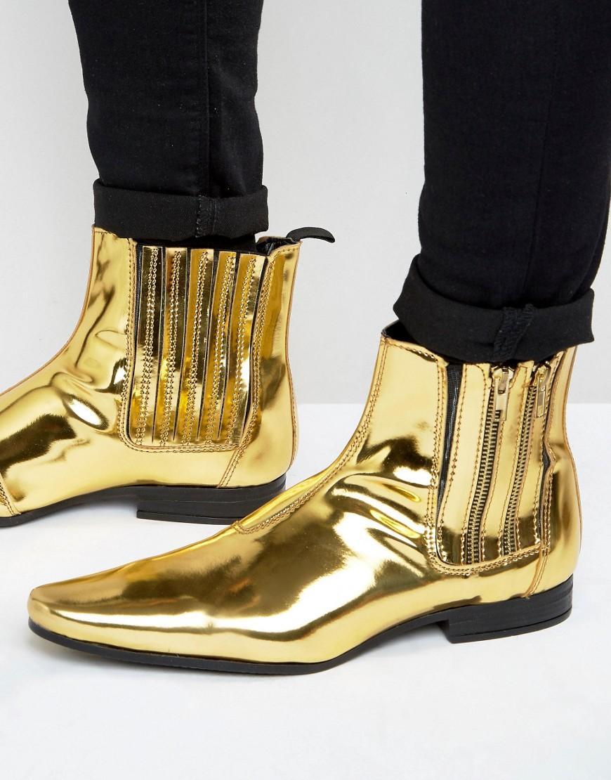 0ceade0f763183 ASOS Chelsea Boots In Gold With Double Zip in Metallic for Men - Lyst