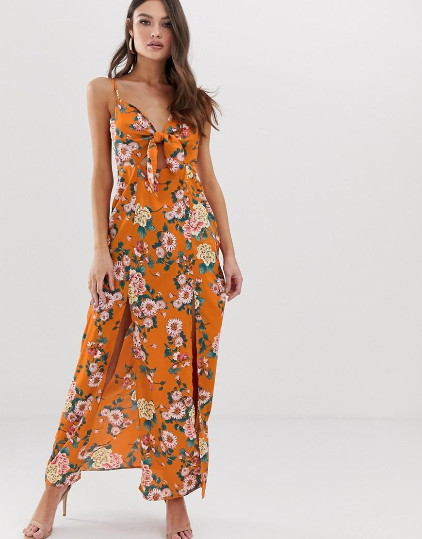 243ebd0e73c Boohoo Maxi Dress With Side Splits In Orange Floral in Orange - Lyst