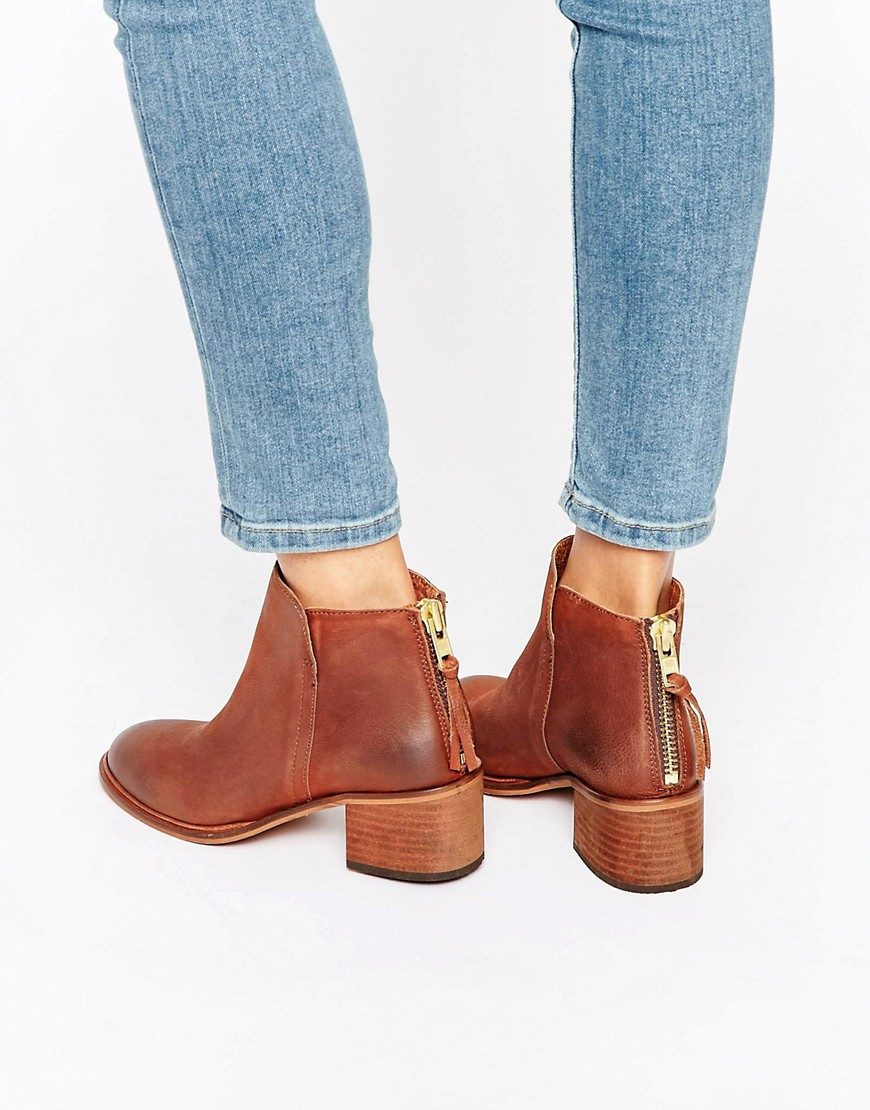 office amends back zip leather heeled ankle boots brown