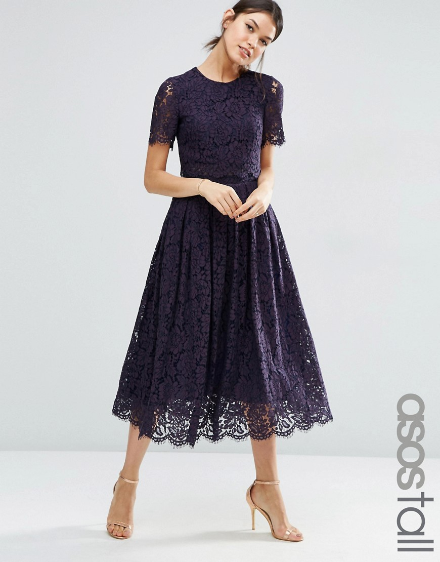asos lace crop top midi prom dress in blue lyst. Black Bedroom Furniture Sets. Home Design Ideas