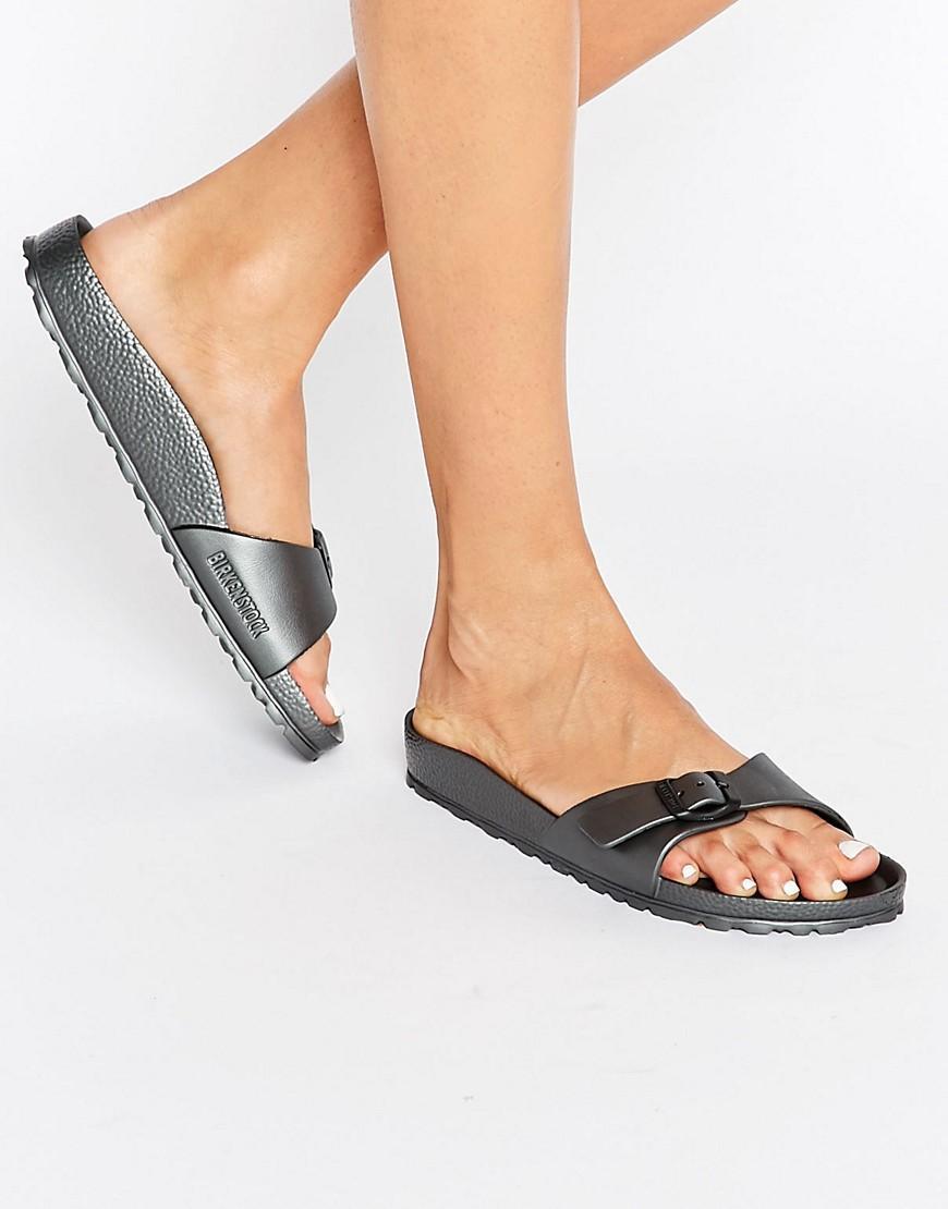 4a1922d63 Birkenstock Madrid Metallic Narrow Fit Slide Flat Sandals - Metallic ...