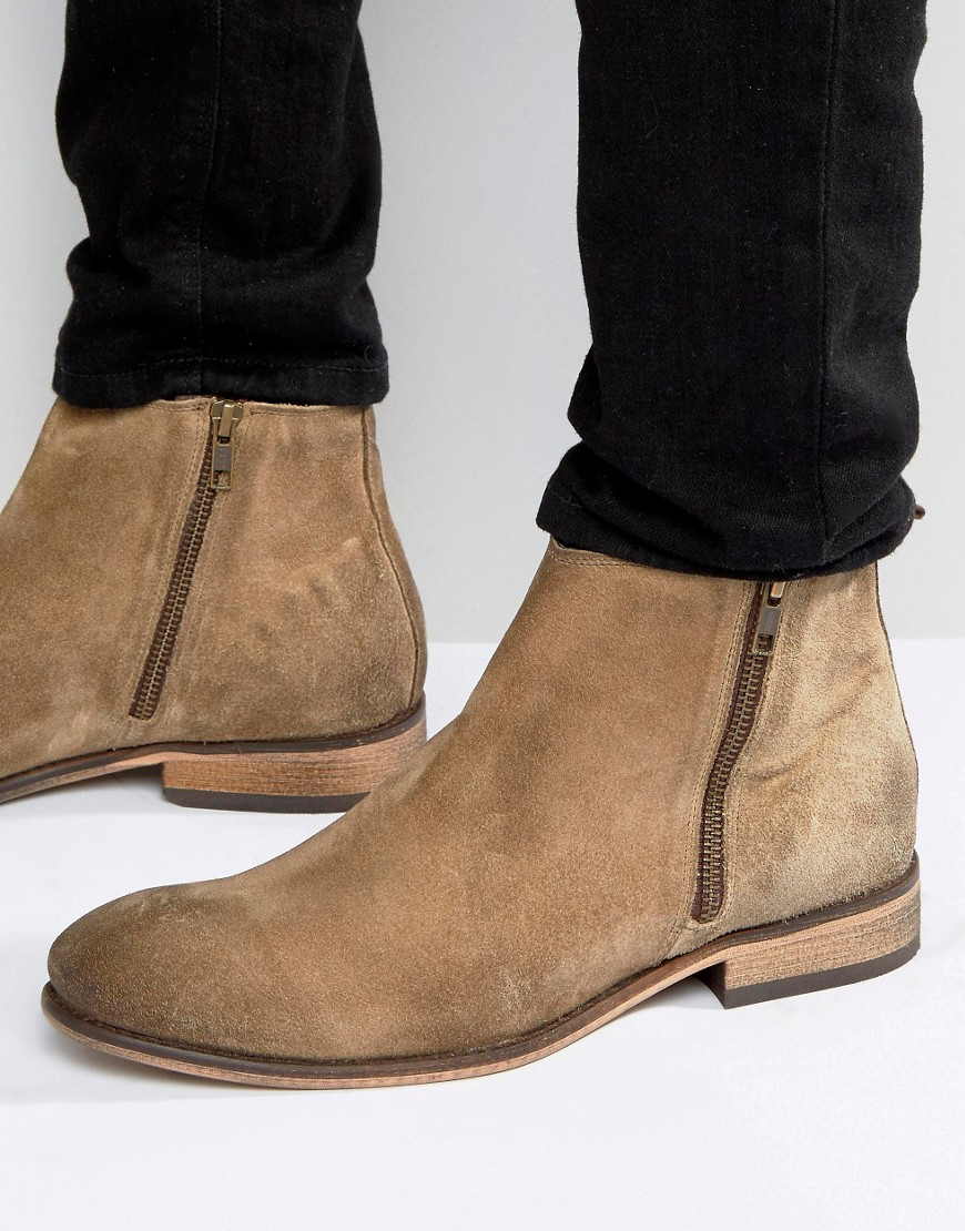 asos chelsea boots in stone suede with double zip in brown. Black Bedroom Furniture Sets. Home Design Ideas