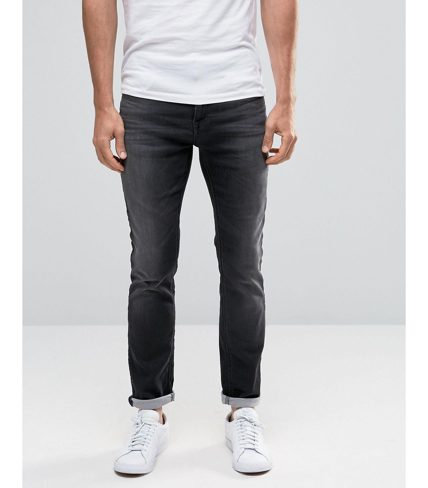 selected elected homme grey wash skinny jersey jeans in super stretch in black for men lyst. Black Bedroom Furniture Sets. Home Design Ideas