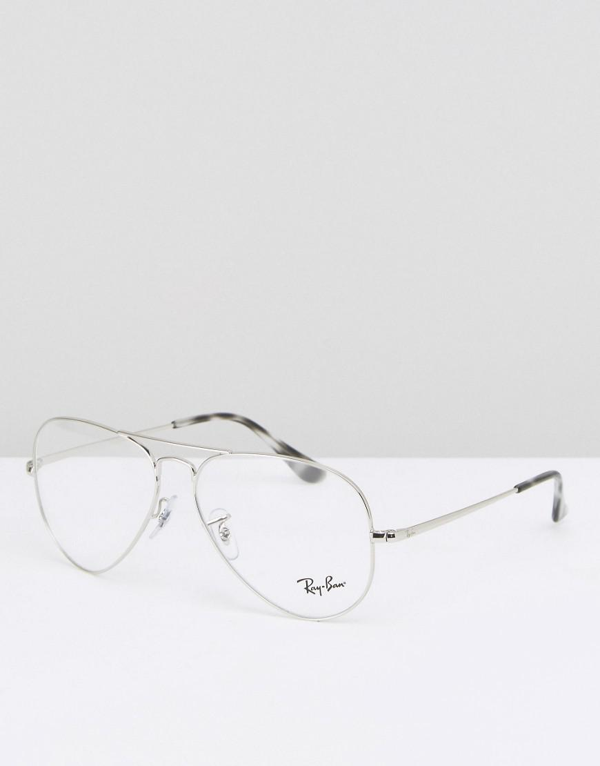 Ray-Ban Ray Ban Clear Lens Aviator Optical Glasses In Silver in ...