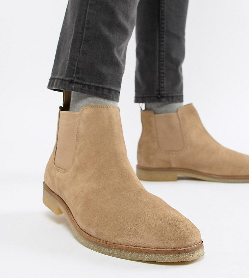 74d9ac8f9 Lyst - ASOS Wide Fit Chelsea Boots In Stone Suede With Natural Sole ...